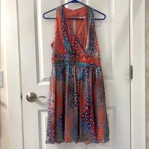 Boston Proper exotic print dress M knee length